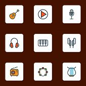 Audio Icons Colored Line Set With Strings, Timbrel, Piano And Other Play  Elements. Isolated  Illust poster