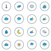 Climate Icons Colored Line Set With Sunlight, Raindrop, Tempest And Other Twilight Elements. Isolate poster