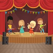 Music Kids Band On Concert Scene. Music Concert With Musician Cartoon, Young Artist With Instrument. poster