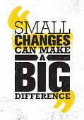 Small Changes Can Make A Big Difference. Inspiring Creative Motivation Quote Poster Template. Vector poster