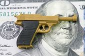 American Firearm Or Gun Business With Big Money Concept, Gun Control Policy In United State Of Ameri poster