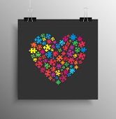 Square Poster Banner. Many Colorful Piece Puzzle Heart. Jigsaw Puzzle Logotype. Valentine Day Love T poster