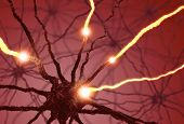 stock photo of neuron  - Interconnected neurons transferring information with electrical pulses - JPG