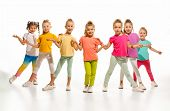 The Kids Dance School, Ballet, Hiphop, Street, Funky And Modern Dancers On White Studio Background.  poster
