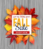 Autumn Sale Poster Of Fall Foliage Bunch On Wooden Background For Seasonal Shop Discount Promo. Vect poster