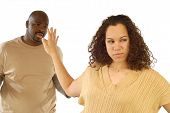 stock photo of cheater  - young woman fed up with the nonsense coming out of her boyfriend - JPG