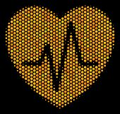 Halftone Hexagonal Cardiology Icon. Bright Gold Pictogram With Honey Comb Geometric Pattern On A Bla poster