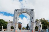 Bridge of Remembrance in the cloudy day. The landmark located in the city centre of Christchurch, Ne poster