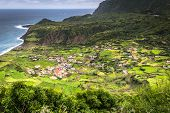 Azores Coastline Landscape In Faja Grande, Flores Island. Portugal. poster