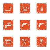 Working Area Icons Set. Grunge Set Of 9 Working Area Vector Icons For Web Isolated On White Backgrou poster