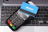 Payment Terminal With Contactless Credit Card And Laptop, Credit Card Reader, Paying Using Credit Ca poster