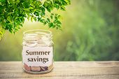 Money In The Jar On Wooden Table And Text Summer Savings With Filter Effect Retro Vintage Style. The poster