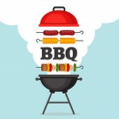 Bbq Party Background With Grill And Fire. Barbecue Poster. Flat Style, Vector Illustration. poster