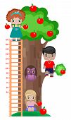 Growth Meter For Children, With An Apple Tree, An Owl In A Hollow, And Children, A Boy And Two Girls poster