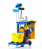 image of janitor  - Blue janitor cart - JPG
