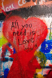image of street-art  - Detail from a famous Lennon wall in Prague - JPG