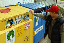 picture of recycle bin  - A public recycling center for the disposal of renewable resources - JPG