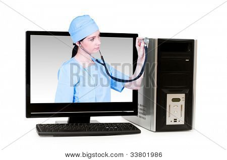 Doctor from computer screen - Healthcare or computer security concept