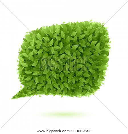 Speech bubble of green leaves. Vector.