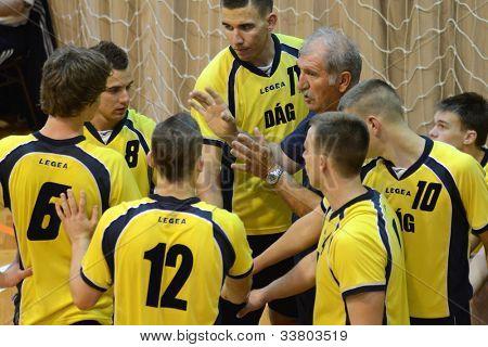 KAPOSVAR, HUNGARY - MAY 18: Dag players listening to trainer at the final of the hungarian junior championship (Dag yellow vs. Szolnok white) , May 18, 2012 in Kaposvar, Hungary