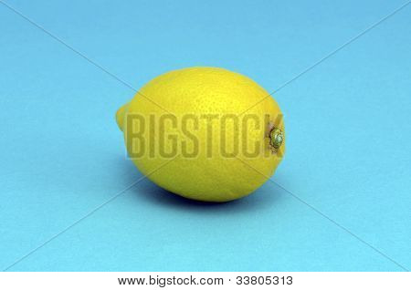 Lemon Heatlhy Fruit Closeup On Blue Background