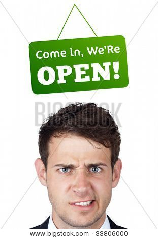 Young persons head looking at closed and open signs
