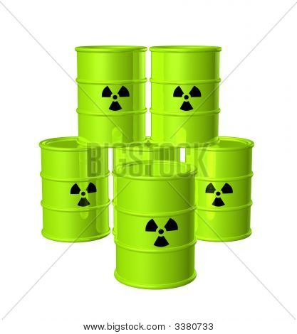 Group Of Nuclear Waste Barrels