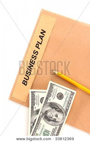 Paper folder with the words business