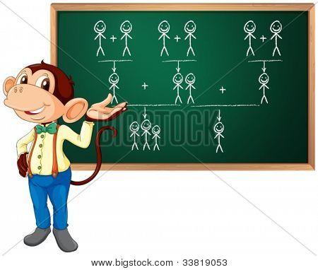Illustration of a monkey presenting