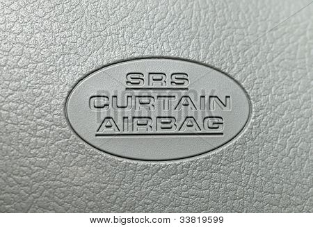 Curtain airbag label in a car