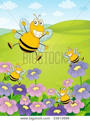 Illustration of bee with flowers