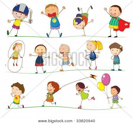 Illustration des einfachen Kinder spielen