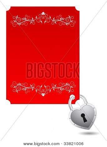 padlock heart shape with ornate card