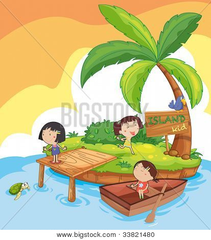 illustration of kids in an island - EPS VECTOR format also available in my portfolio.