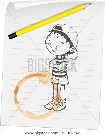 Illustration of a boy and coffee stain - EPS VECTOR format also available in my portfolio.
