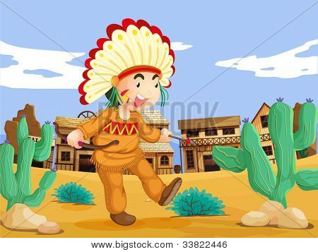 Illustration of an american indian in the wild west - EPS VECTOR format also available in my portfolio.
