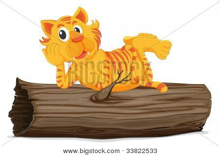 Illustration of a tiger on a log - EPS VECTOR format also available in my portfolio.