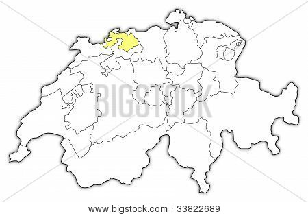 Map Of Swizerland, Basel-landschaft Highlighted