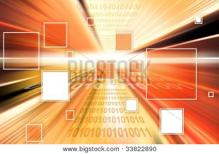 technology background with transparent geometric shapes. Digital illustration.