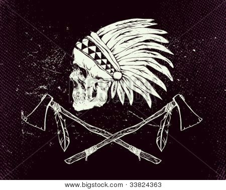 Vector illustration indian skull and tomahawk