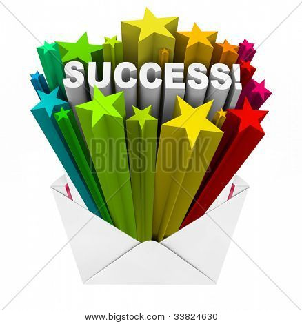 The word Success bursts in a shower of stars out of an envelope to tell you that you are approved, have succeeded, or are the winner of a competition or your application is accepted