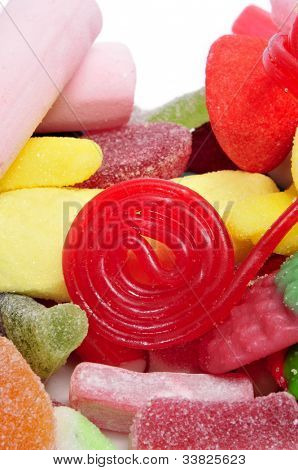 closeup of a pile of candies