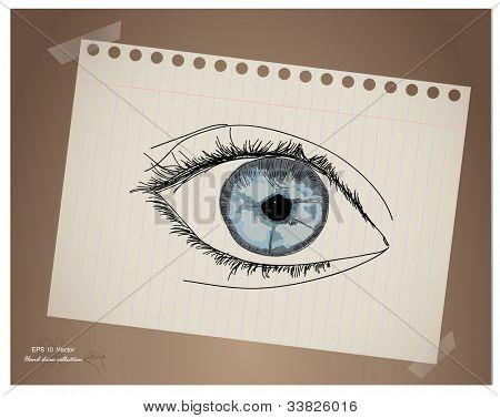 Mão desenhar olho no papel.Vector EPS10