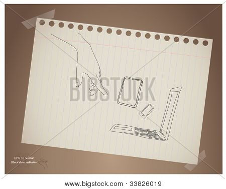 Hand draw hand point to touch screen device,mobile and laptop  in paper .EPS10 vector