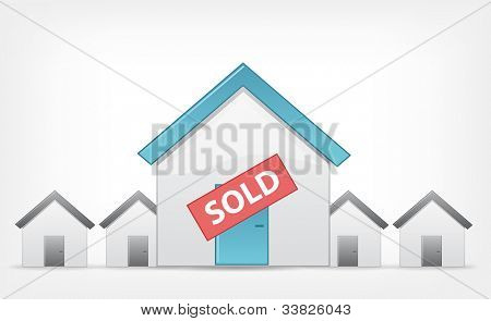 Sold Home Concept. Grey Gradient Background. Vector EPS 10.