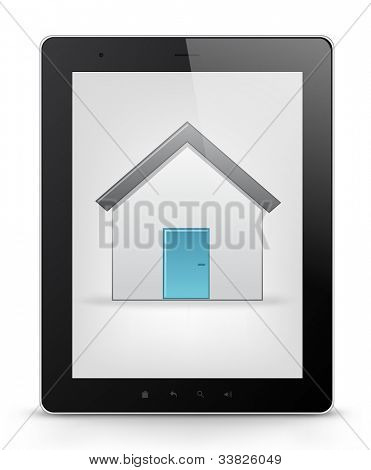Real Estate Concept. Tablet PC Isolated on White Background. Vector EPS 10.