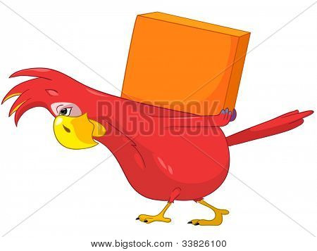 Cartoon Character Funny Parrot Isolated on White Background. Delivery. Vector EPS 10.
