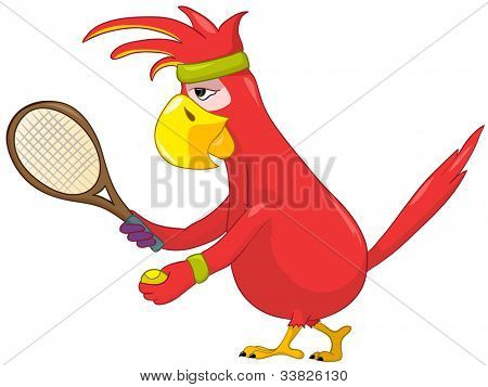Cartoon Character Funny Parrot Isolated on White Background. Tennis. Vector EPS 10.