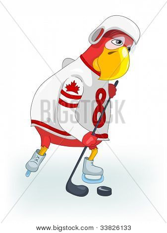 Cartoon Character Funny Parrot Isolated on White Background. Hockey. Vector EPS 10.