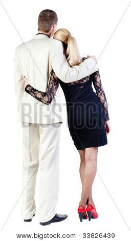Back view of  business team look. young couple (man and woman) rear view. girl in dress and guy in suit together. Rear view people collection. backside view of person. Isolated over white background.